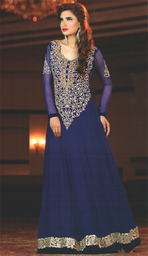 Latest Pakistani Royal Blue Frock Churidar Pajama