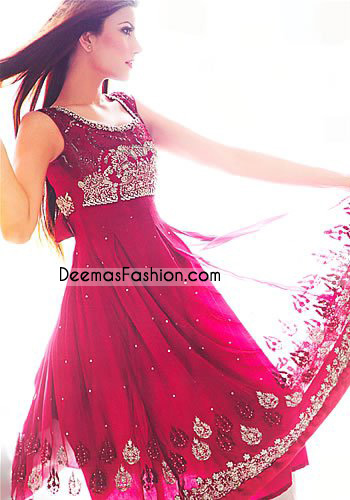Latest Pakistani Stylish Shocking Pink Anarkali Outfit