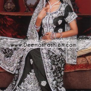 Latest Pakistani Wedding Dress – Black Silver lehnga