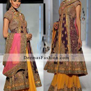 Latest Pakistani Bridal Wear Dark Purple Shirt Golden Yellow Sharara