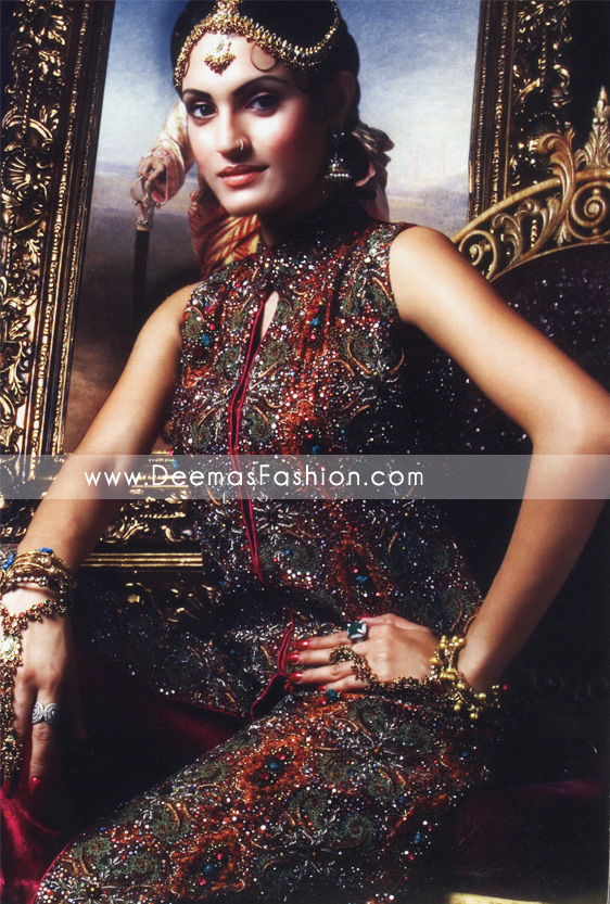 Latest Pakistani Fashion - Maroon Embroidered Bridal Dress