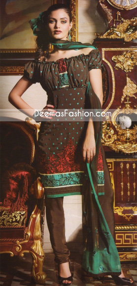 Latest Heavy Embroidered Grayish Brown Dress