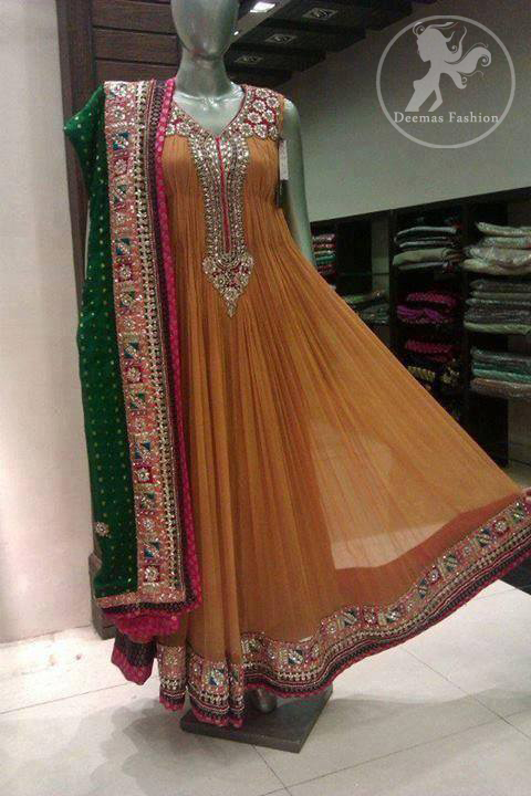 Light Brown Orange Anarkali Frock with Embellished Bottle Green Dupatta