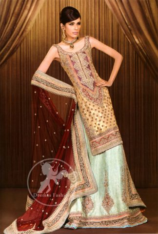 Light Gold Pistachio Green and Deep Red Bridal Lehnga