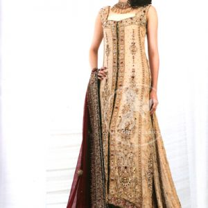 Light Peach Heavy Embroidered Front Open Back Trail Gown Deep Red Dupatta