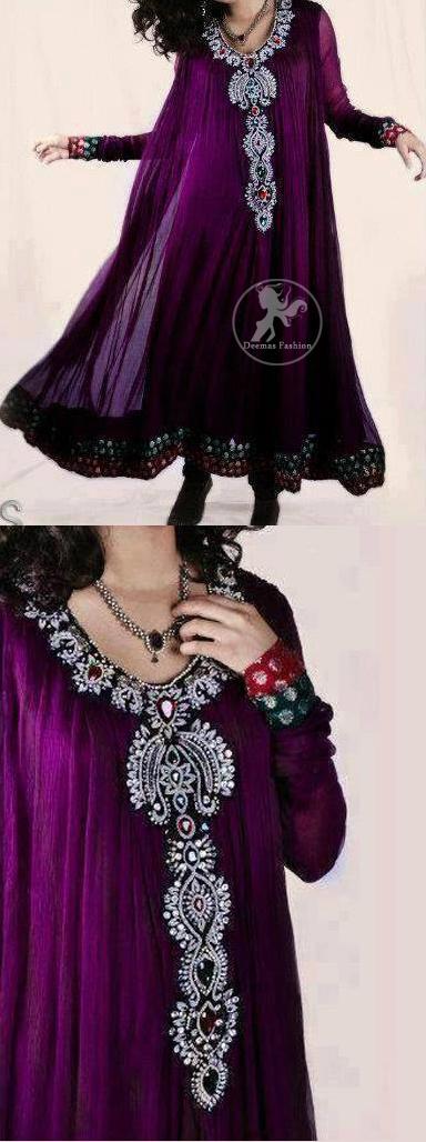 Magenta Aline Frock with Embellished Neckline