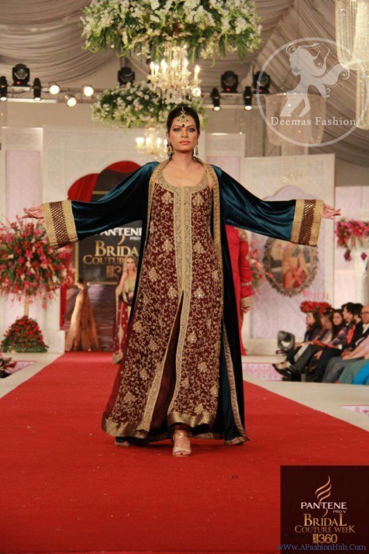 Maroon Fully Embellished shirt with Teal Blue Front Open Gown