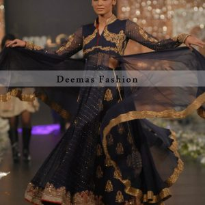 Navy Blue with Antique Colour Embellishment Anarkali Frock Lehnga