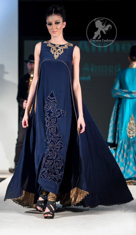 Navy Blue Double Layer Frock Churidar