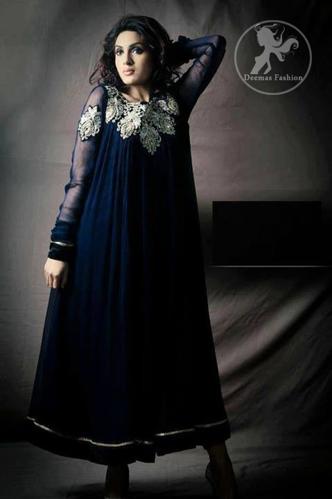 Navy Blue Semi Formal Frock & Churidar Pajama