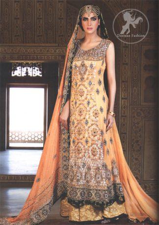 Orange Bridal Wear Frock With Banarsi Sharara and Embroidered Dupatta