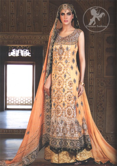 Orange Bridal Wear Frock With Banarsi Sharara and Embroidered Dupatta