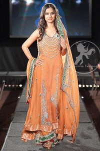 Orange A-Line Frock And Sharara With Embellished Neckline And Dupatta