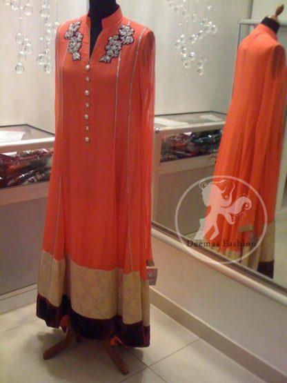 Orange Full Length Anarkali Frock Churidar