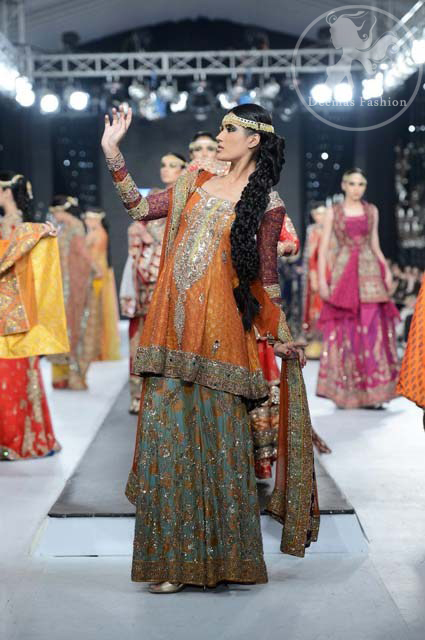 Orange Mehndi Wear Frock Embroidered Sharara