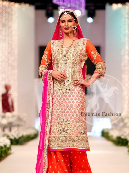 Orange Shocking Pink Mehndi Occasion Shirt Sharara