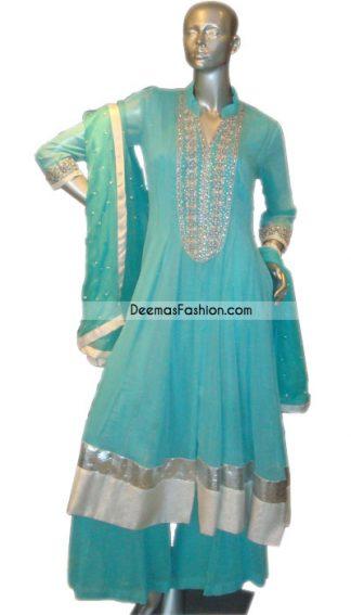Pakistani Designer Wear - Ferozi Anarkali Aline Frock