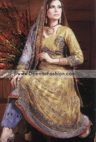 Pakistani Bridal Designer Dress - Golden Blue Anarkali Dress