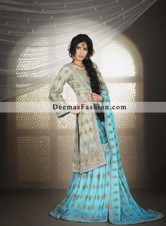 Pakistani Bridal Wear Designer Dress Blue Gharara