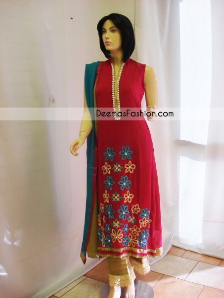 Pakistani Latest Casual Dress Red Beige