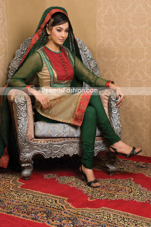 Designer Clothes In Pakistan | Pakistani Designer Clothes Dark Green Golden Dress Latest