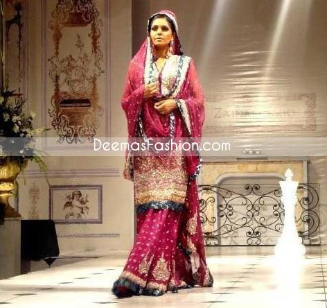 Pakistani Designer Clothes Shocking Pink Sharara