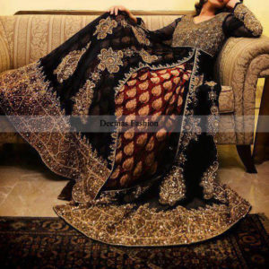 Pakistani Designer Collection Black Heavy Formal Pishwas
