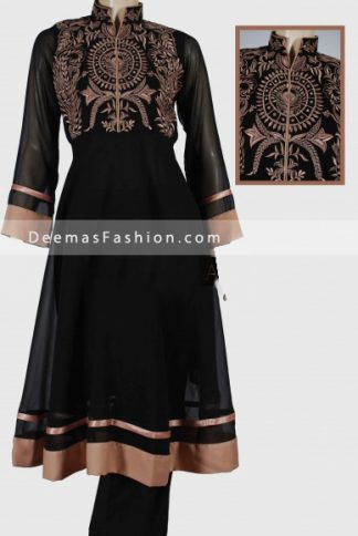 Pakistani Designer Wear - Black Anarkali Dress