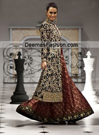 Pakistani Designer Wear Bridal Dress - Maroon Black Sharara