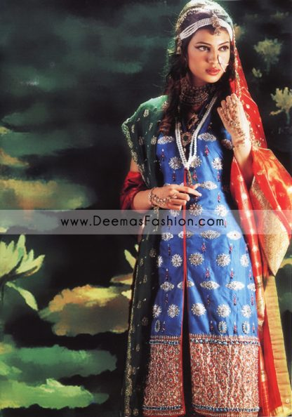 Pakistani Designer Wear Bridal Dress - Red Blue Dress