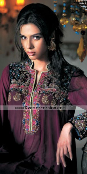 Pakistani Ladies Fashion Clothes – Deep Purple designer kurta Collection