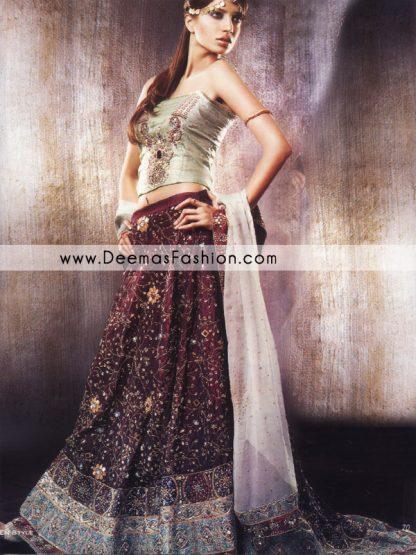 Pakistani Designer Wear Lehnga - Maroon Green Bridal Dress