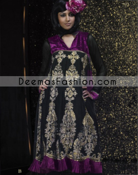 Latest Pakistani Fashion Dress - Black & Purple Anarkali Frock