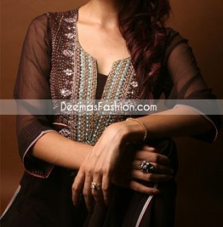Latest Pakistani Fashion Clothes Dark Brown Casual Dress
