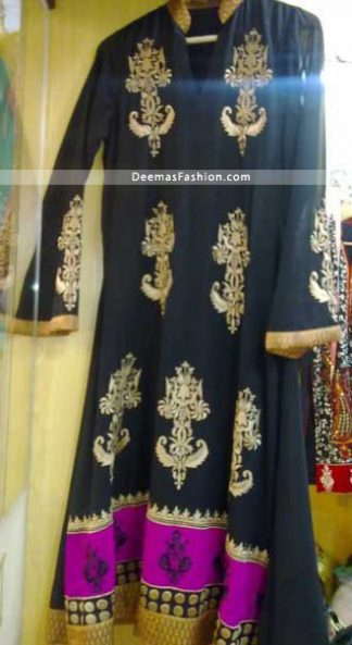 Pakistani Latest Anarkali Fashion Stylish Black Frock