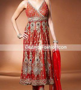 Pakistani Traditional Anarkali Churidar Red & Golden Dress