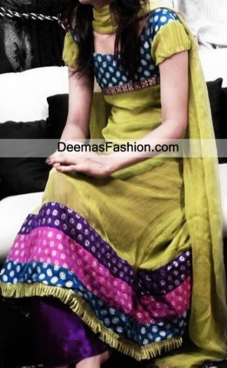 Pakistani Designer Wear Dress Mehndi Green Frock Trouser