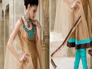 Pakistani Anarkali Fashion – Light Brown Sea Green Frock Churidar