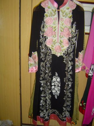 Pakistani Casual Dress - Black White Designer Wear