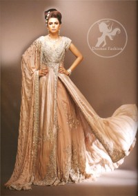 Pale Peach Double Layer Bridal Wear