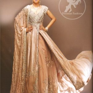 Pale Peach Double Layer Heavy Bridal Wear for Second Day of Wedding