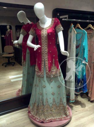 Pinkish Red Front Open Shirt Ferozi Lehnga