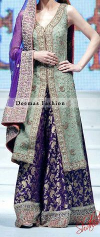 Latest Walima Dress Pistachio Green Purple Sharara