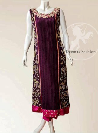 Plum Semi Formal Shirt With Embellished Panels And Trouser