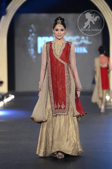 Red Angrakha Style Shirt - Light Gold Gharara - Latest Designer ...