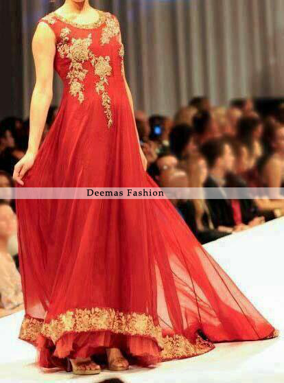 Red Back Trail Anarkali Frock Sharara