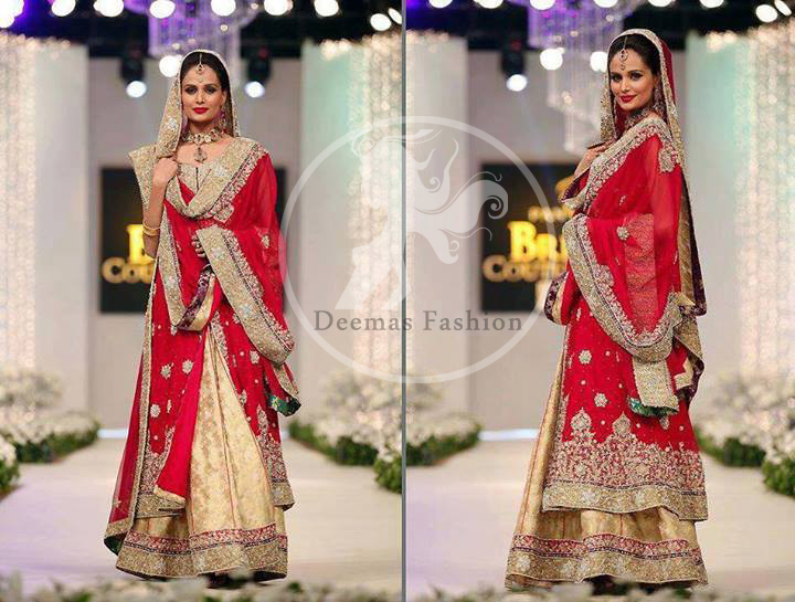 Red Front Open Embellished Bridal Frock And Fawn Lehnga