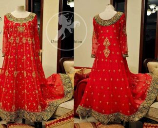 Red Heavy Embellished Border Bridal Frock Churidar