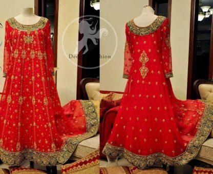 Red Heavy Embellished Border Bridal Frock Churidar