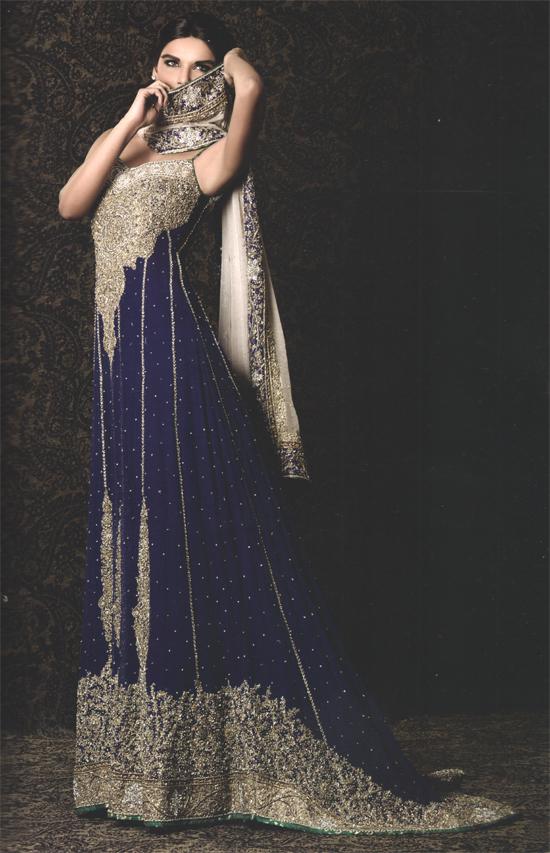 Royal Blue Back Trail Bridal Wear Maxi Off White Dupatta Latest